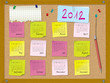 2012 calendar - week starts on Sunday - cork board