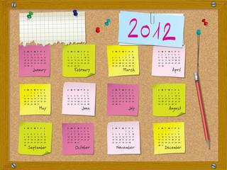 2012 calendar - week starts on Sunday - cork board