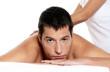 Man receiving massage relax treatment close-up portrait