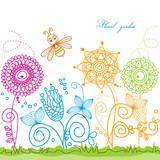 Vector summer scene: bee visiting flowers