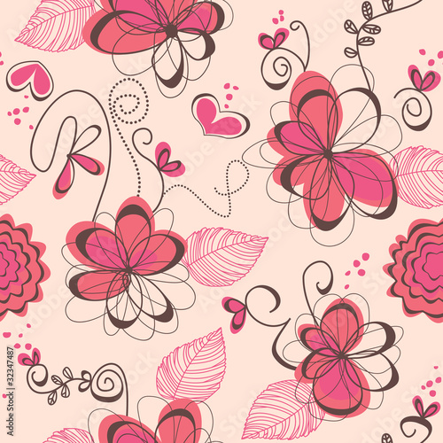 Tuinposter Abstract bloemen Pink romantic seamless pattern