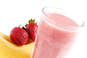 Banana strawberries smoothie