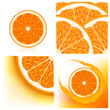Set of backgrounds with oranges