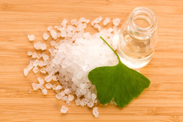 fresh leaves ginko biloba essential oil and sea salt