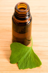 ginko biloba essential oil with fresh leaves - beauty treatment