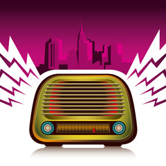 Illustration of colorful retro radio.