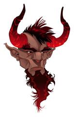 Devil face. Demon's portrait. Vector isolated illustration