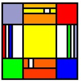 squares in the style of mondrian poster