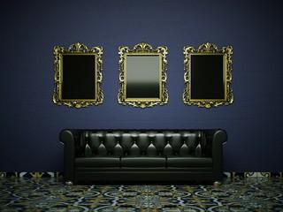 Schwarzes Ledersofa vor blauer Wand mit Bilderrahmen
