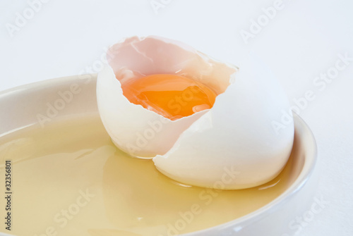 Broken chicken egg and shell on a saucer
