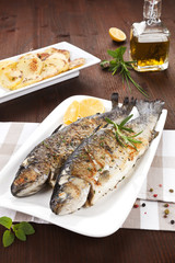Grilled trouts. Seafood concept.