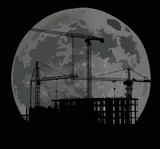 house building and large moon