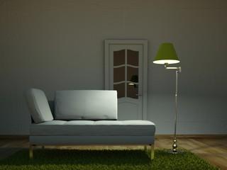 3d Rendering weisses Sofa mit grüner Lampe