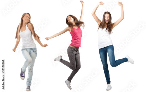 Collage of three happy excited young women
