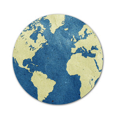 world map recycled paper craft stick on white background
