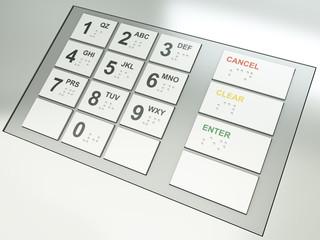 ATM keypad. 3D render