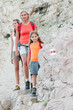 Mountain trek - family on red trail
