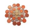 British, UK, coins  on a plain white background.
