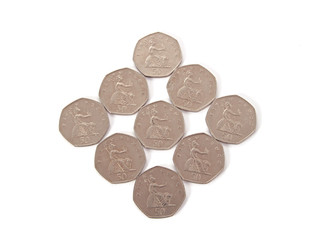 British, UK, coins  on a plain white background.