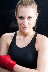 Fashion model - Boxing training blond woman