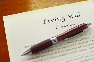 A Living Will document closeup with pen