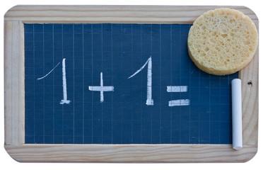 ardoise écolier, calcul, 1 + 1 =