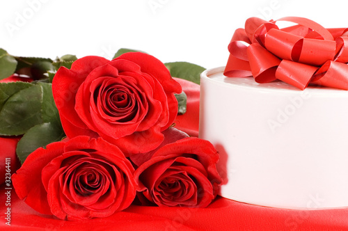 Rose with a box with gift