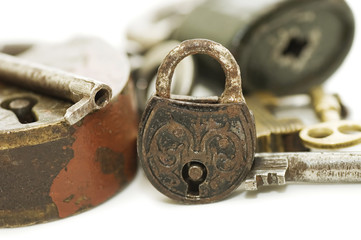 The old lock isolated on white