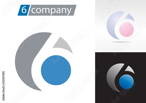 Logo spherical number 6 # Vector