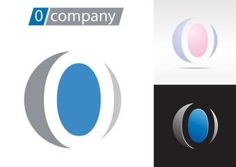 Logo spherical number 0, letter O # Vector