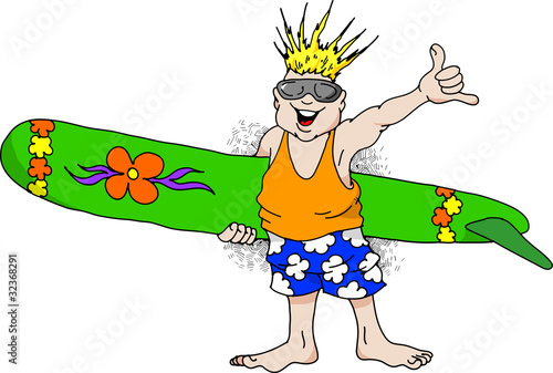 Cartoon image of a very happy man with a surfboard.