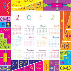 2012 calendar with colored frame for kids