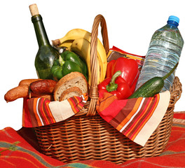 basket of picnic on white