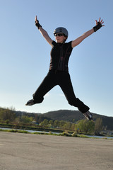 Inline skate wide jump