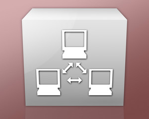 "Box-shaped Icon (red b/g) ""Network"""
