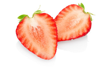 Strawberry sliced on white background