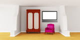 Cupboard with luxurious chair and TV in modern interior poster