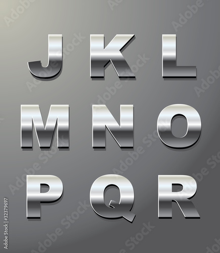 shiny metal letters in chrome