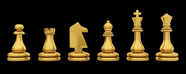 Golden chess pieces isolated on black background