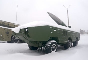 Tochka-U ballistic missile complex in the snow