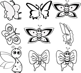 cartoon butterfly icon set
