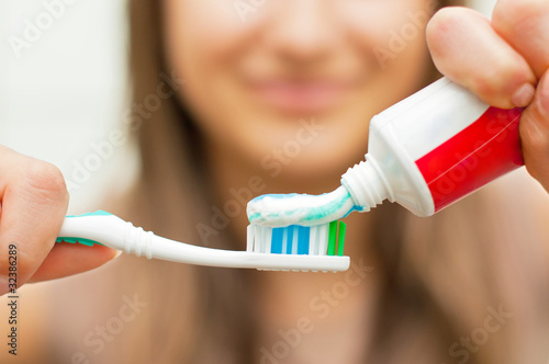 canvas print picture Toothbrush with toothpaste