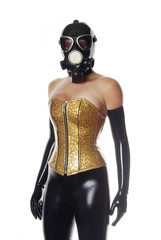 Golden PVC Corset and Black Latex Gloves
