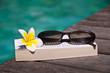 Livre et lunettes de soleil, piscine