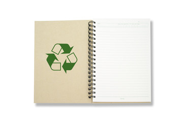 Recycle Notebook isolated white background