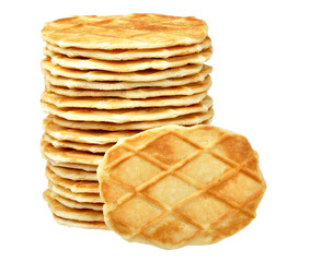 pile of waffle cookie isolated on a white background