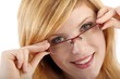 young woman with eyeglasses (white background)