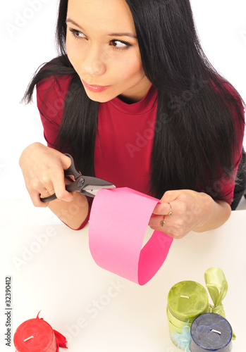 young girl   making present