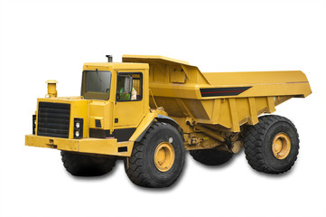Big yellow truck on the white background, isolated
