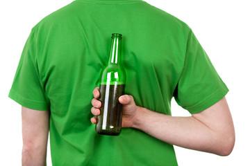 Beer behind mans back